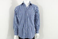 Men's Peter Millar Shirt Long sleeve Color Blue/White check Size Large Pre-Own