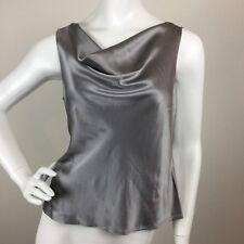 Lafayette 148 Cowl Neck Sleeveless Blouse Top Womens Silver 100% Silk Sz 8