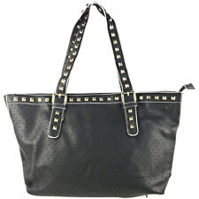 BLACK STUDDED LEATHERETTE LOOK SHOULDER HANDBAG WITH MESSENGER BAG FASHION PURSE