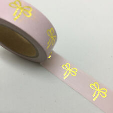 WASHI TAPE GOLD FOIL BOWS ON PALE PINK 15MM X 10MTR PLAN CRAFT WRAP SCRAP