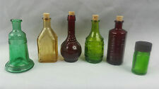 Set of 6 Vintage Wheaton Miniature Claw Barrel Medicine Glass Bottles Lot