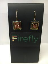 FIREFLY Multicolor Mosaic Square Drop Earrings - Topaz Gold (E18)