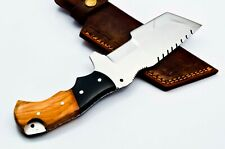 Custom Stainless Steel Tanto Tracker Hunting Knife FF36 Wood & Micarta Handle