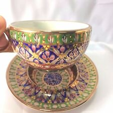 Thai Ceramic Porcelain Benjarong Bencharong Cup & Saucer Set Hand Painted New