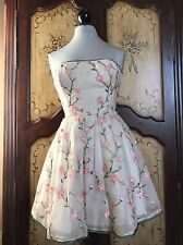 Betsey Johnson Cream Chiffon Floral Embroidered Tea Party Dress