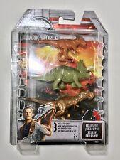 New Sealed Jurassic World 3 pack Mini Action Dinos  T Rex stiggy triceratops.