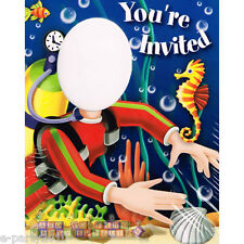 DEEP SEA FUN Scuba Diver PHOTO INVITATIONS (8) ~ Birthday Party Supplies Cards