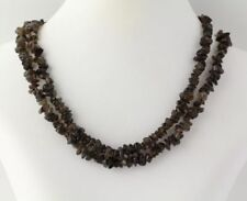 "NEW Beaded Necklace - Brown Smoky Quartz Long Strand 32"" Chunky Jewelry"