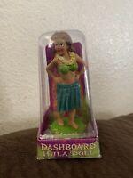 "Dashboard Hula Girl Sweet Wahine 4"" Hawaii Bobblehead Doll Surf Dance New Green"
