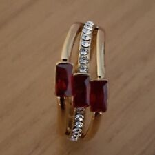 14K Gold plated emerald 3 stone Ruby ring and cubic zirconia