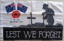 Lest We Forget Flag Poppy Australia & New Zealand Flags Medium Remembrance Flag