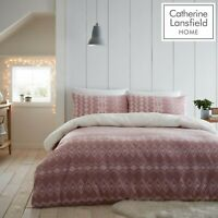 Catherine Lansfield Alpine Cosy Fleece/Sherpa Duvet Cover Bedding Set Blush Pink