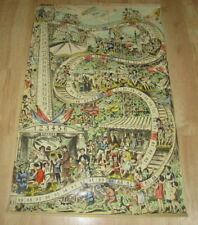 Original Old c.1910 Antique - ROLLER COASTER - French Game Board PRINT