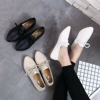 Womens Flat Casual Lace Up Solid Oxfords Pointed Toe Fashion Comfy Shoes Work Sz