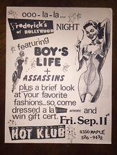 Vintage RARE BOYS LIFE & ASSASSINS Hot Klub Flyer MAN CAVE DECOR Dallas Texas