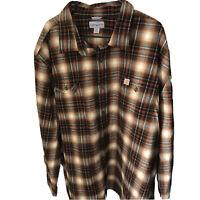 Carhartt Original Fit Men's Heavy Flannel Button Up Shirt Size 4XL Brown Plaid