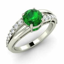 Certified 0.97 TCW Genuine Emerald & SI Diamond Engagement Ring 14k White Gold
