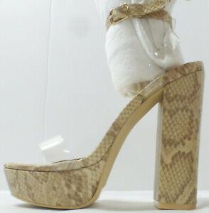 "MACKIN GIRL Womens 6"" Platform High Heel Shoe G186-1, Nude Snake, Size 7, NIB"