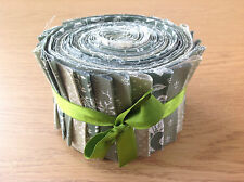 JELLY ROLL STRIPS 100% COTTON PATCHWORK FABRIC GREEN 25 PIECES