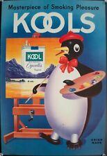 c. 1940s Kools Cigarettes Masterpieces of Smoking Pleasure Penguin Artist Poster