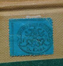VATICANO FRANCO BOLLO POSTALE 1852/67- AZZURRO 5 CENTESIMI-  LINGUETTA SUL RETRO