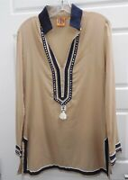 Tory Burch Beige Blue 100% Cotton V-neck Tunic Blouse Top sz 6