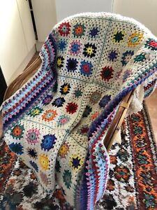 Vintage Handmade Multicolour Afghan Blanket Throw Crochet Granny Squares Blanket