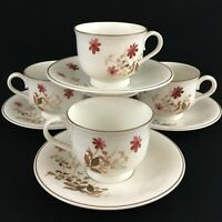 Set of 4 VTG Cups and Saucers by Noritake Versatone Outlook Floral B305W10 Japan