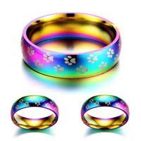 Damen Herren Ring Regenbogen Bunt Haustier Pfotenabdruck Edelstahl Ringe Unisex