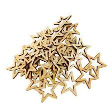 50pcs 30mm Unfinished Wooden Shape Star Embellishment for Scrapbook Crafts
