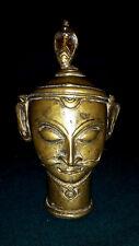 Vintage Indien Shiva Mukha Linga Bronze Ritual Kopf Maske  19.Jhd.