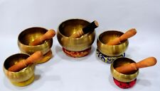 HAND HAMMERED 5 SET OF NEPALESE SINGING BOWL FOR MEDITATION & HEALING