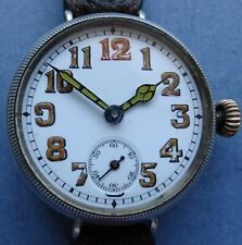 Mint dial WW1 large 33mm solid silver MARVIN 15J Trench watch new strap - 1915