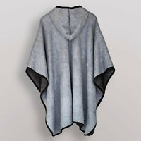 LIGHT BABY ALPACA WOOL HOODED OPEN PONCHO CAPE WRAP SHAWL UNISEX HANDMADE