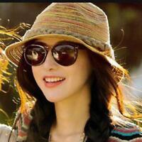 Women Summer Sun Beach Foldable Roll Up Wide Brim Straw Visor Hat Cap CO