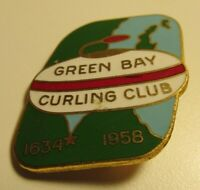 Green Bay Curling Club 1634 - 1958 Antique Curling Club Pin Sports Collectible
