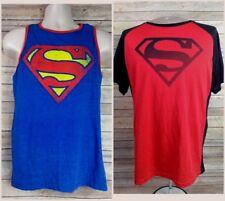 Lot 2 Men's SUPERMAN T Shirts Sz S / M Red Black Sleeveless Tank Casual T Shirts