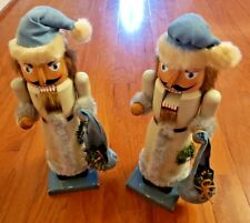 Set Of Two (2) Large Winter / Holiday Nutcrackers – Blue / Grey With Bags