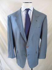 Brioni blue houndstooth plaid gold logo button dual vent blazer coat jacket 48