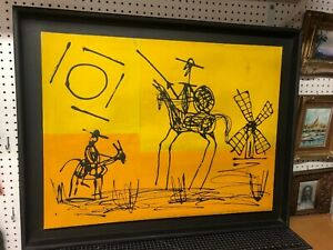 Vintage Original Acrylic Painting Framed - Don Quixote Yellow Black 31x23""