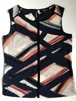 Paul Costelloe Black Label Ladies Sleeveless Top Abstract Multi Blue Size S 10
