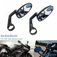 "Pair Handle Bar End Mirrors 7/8"" For Honda Harley Motorcycle Cafe Racer Bobber"