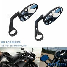 """Pair Handle Bar End Mirrors 7/8"""" For Honda Harley Motorcycle Cafe Racer Bobber"""