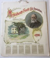 1896 Masschusetts Benefit Life Association 2 Piece Calendar