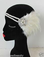 blanche ivoire argent perle plume coiffe vintage Bandeau charleston années 1920