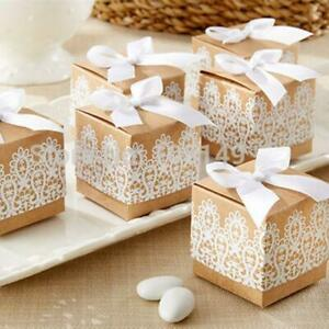 50pcs/pack Candy Box Lovely Decorative Sweet Packing Boxes with Ribbon and Lace