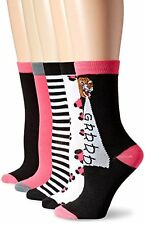 Sock Lab Pink/Black Grrr Tiger Growl Novelty Crew Sock -  5-Pack