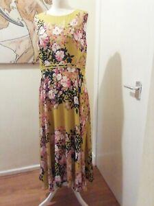 Laura Ashley Ochre Yellow Pink Floral Print Long Dress Size 14 Wedding