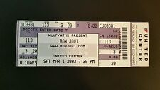 Bon Jovi Ticket 3/1/2003  Chicago United Center WHILE SUPPLIES LAST!