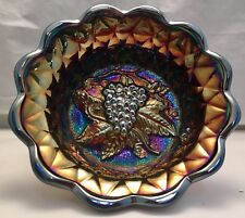 "Vintage Carnival Glass Fenton Logo Grape & Leaf Footed 6"" Bowl Amethyst / Purple"